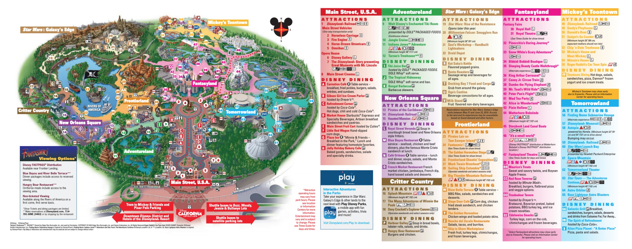 Disneyland Park Map in California, Map of Disneyland on
